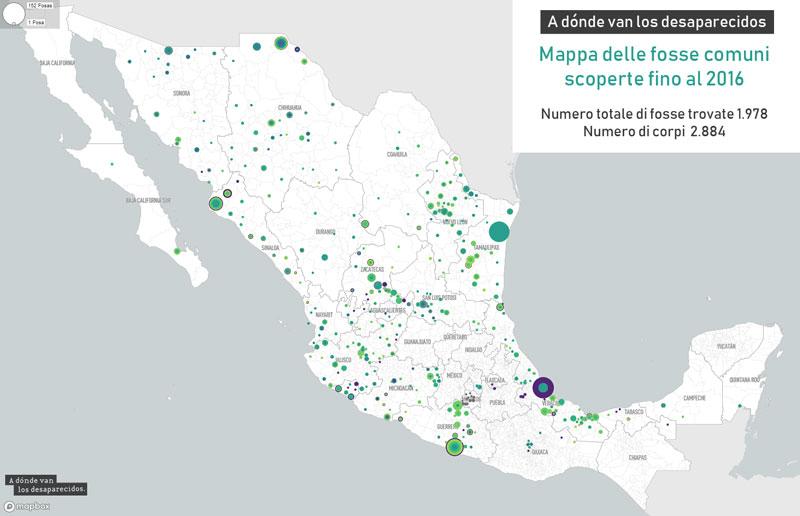 Mappa Messico delle fosse comuni