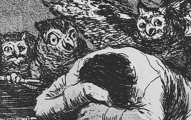Goya, Los Caprichos, 1799 – Tavola 43, El sueño de la razon produce monstruos, dettaglio
